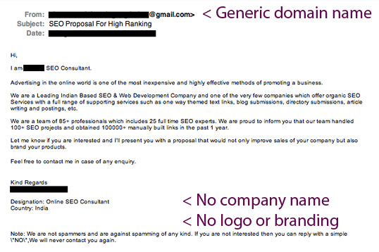 Example of poor branding in email