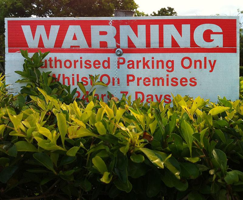 signage obscured by vegetation