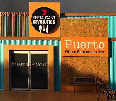 Puerto logo design for channel 7 restaurant revolution