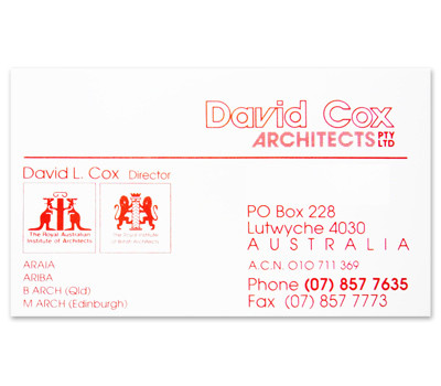 Cox Architects business card design