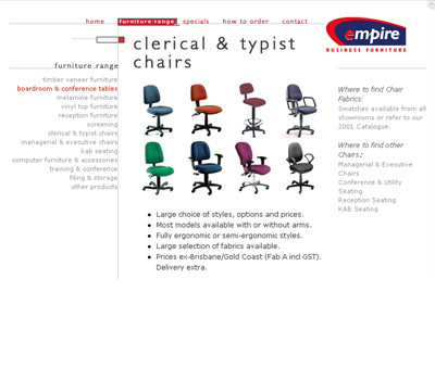 Empire Furniture website